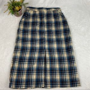 Vintage Hi Waist Plaid Skirt Blue Brown